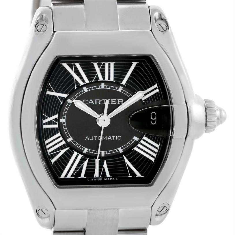 9938 Cartier Roadster Mens Steel Large Black Dial Watch W62041V3 SwissWatchExpo
