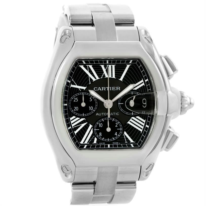 10130 Cartier Roadster Chronograph Black Dial Steel Mens Watch W62020X6 SwissWatchExpo