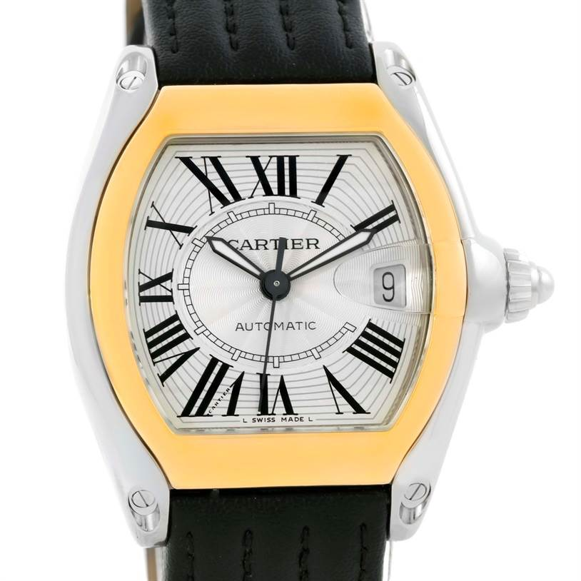 10167 Cartier Roadster 18k Yellow Gold Steel Mens Watch W62031Y4 SwissWatchExpo