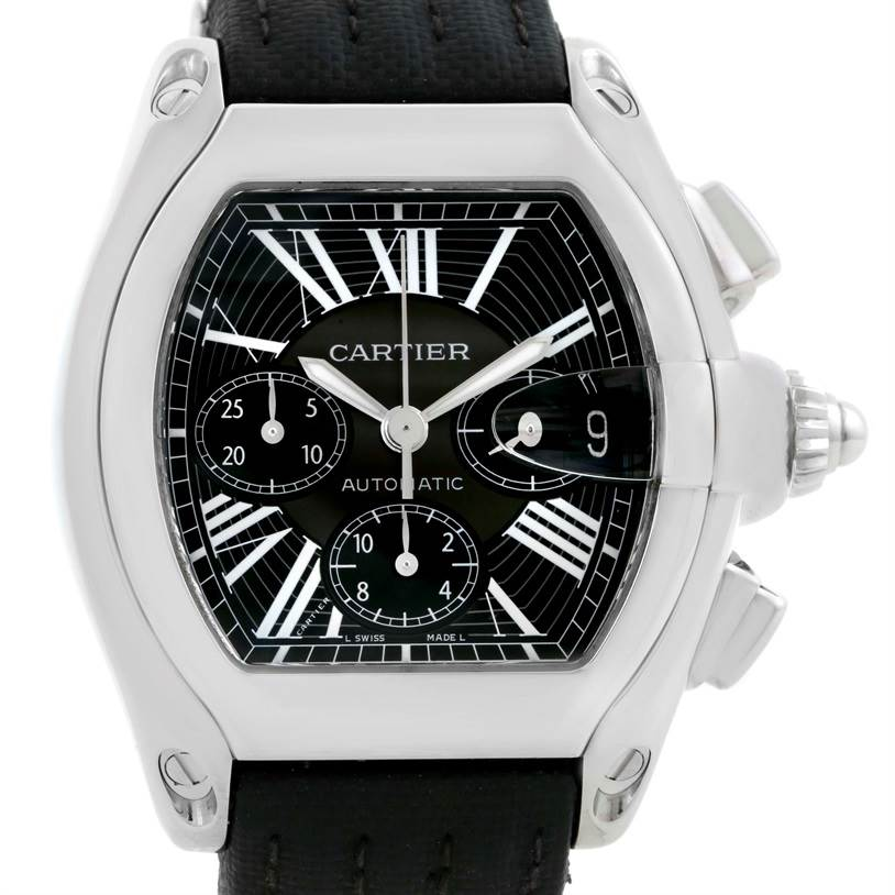 10050 Cartier Roadster Chronograph Black Strap Steel Mens Watch W62020X6 SwissWatchExpo