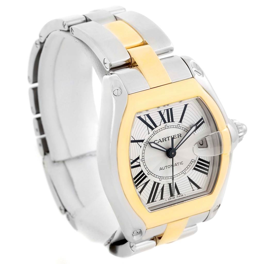 10195 Cartier Roadster 18k Yellow Gold Stainless Steel Mens Watch W62031Y4 SwissWatchExpo