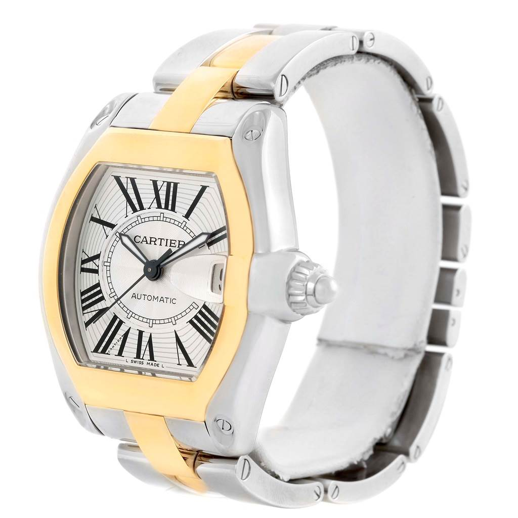 Cartier Roadster 18k Yellow Gold Stainless Steel Mens Watch W62031Y4 SwissWatchExpo