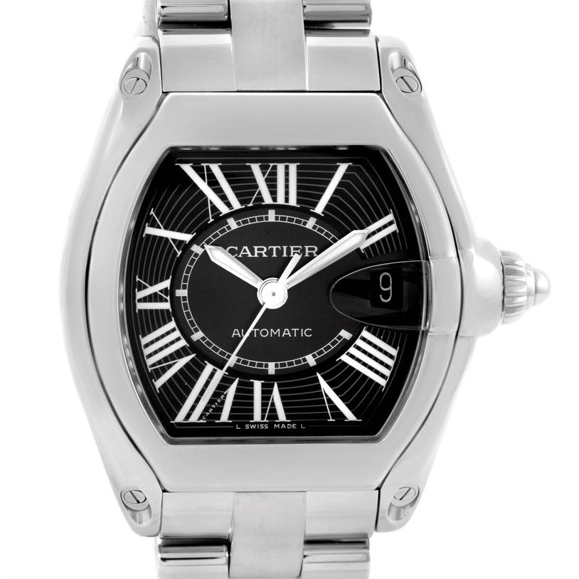 10028 Cartier Roadster Mens Steel Large Black Dial Watch W62041V3 SwissWatchExpo