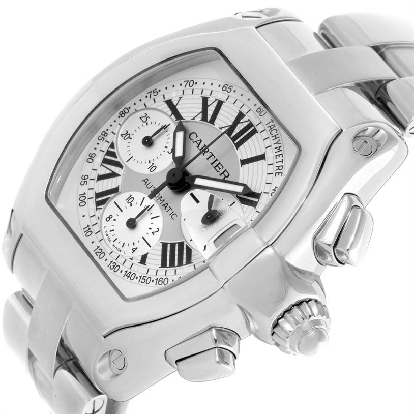 9937 Cartier Roadster Chronograph Silver Dial Mens Watch W62006X6 SwissWatchExpo