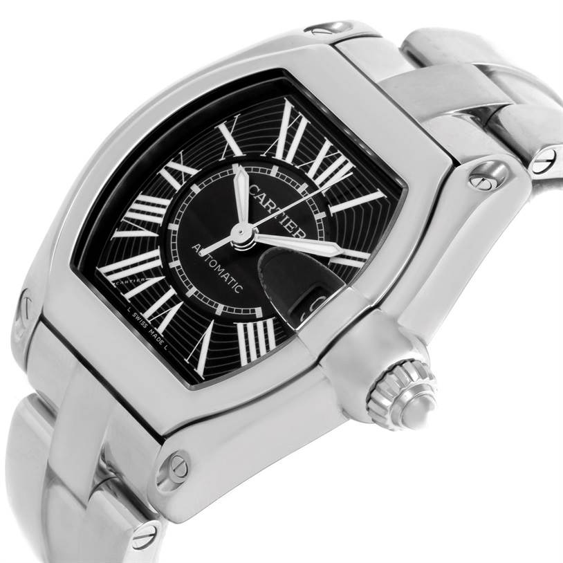 10027 Cartier Roadster Black Dial Mens Large Automatic Watch W62041V3 SwissWatchExpo