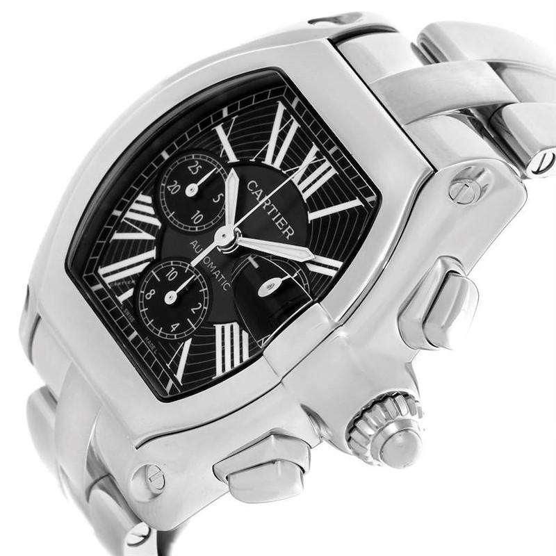 Cartier Roadster Chronograph Black Dial Steel Mens Watch W62020X6 SwissWatchExpo