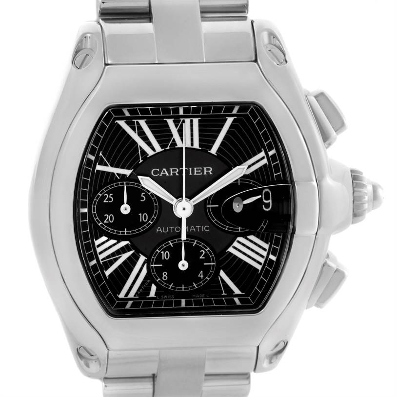 10232 Cartier Roadster Chronograph Black Dial Steel Mens Watch W62020X6 SwissWatchExpo
