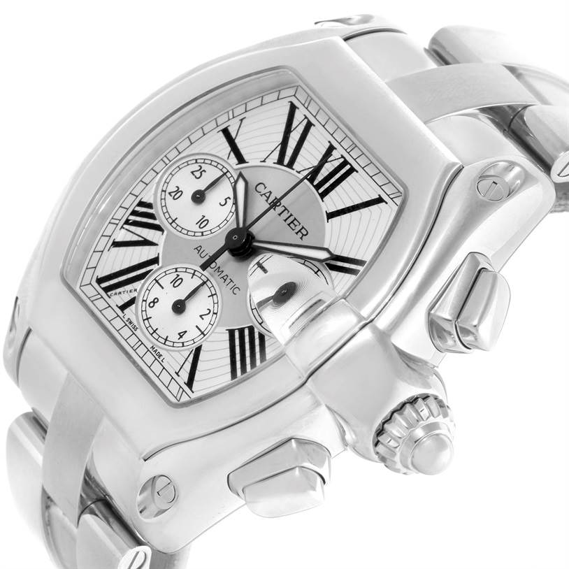 9625 Cartier Roadster Chronograph Silver Dial Mens Automatic Watch W62019X6 SwissWatchExpo