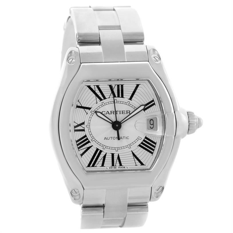 10202 Cartier Roadster Mens Steel Large Silver Dial Watch W62025V3 SwissWatchExpo