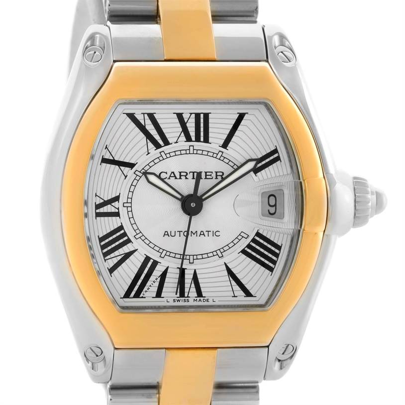 10919 Cartier Roadster 18k Yellow Gold Stainless Steel Mens Watch W62031Y4 SwissWatchExpo