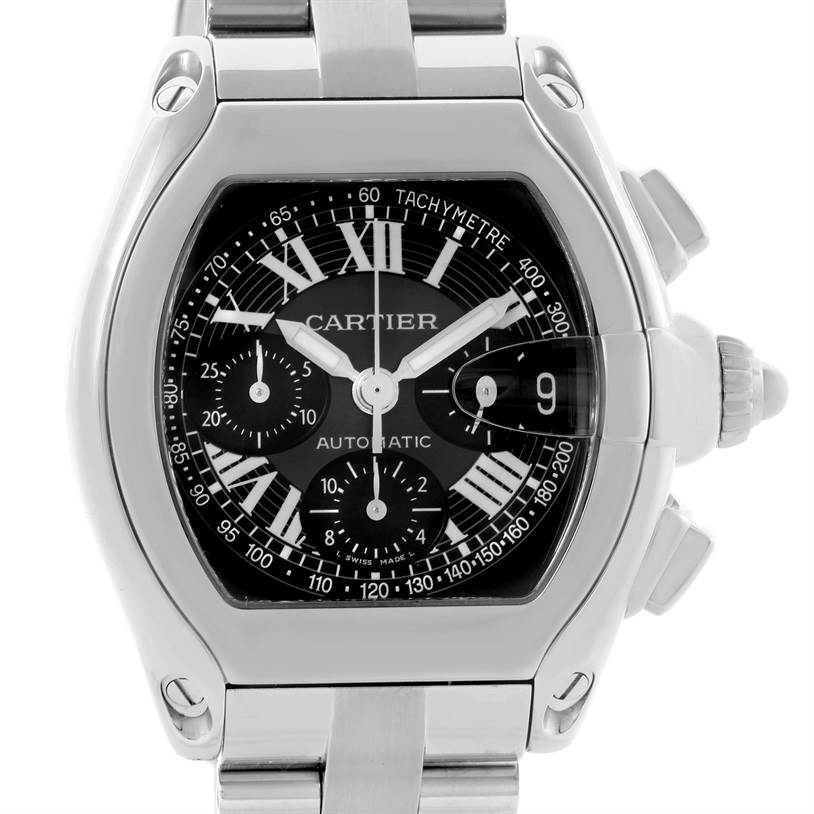 11088 Cartier Roadster Chronograph Black Dial Mens Watch W62007X6 SwissWatchExpo