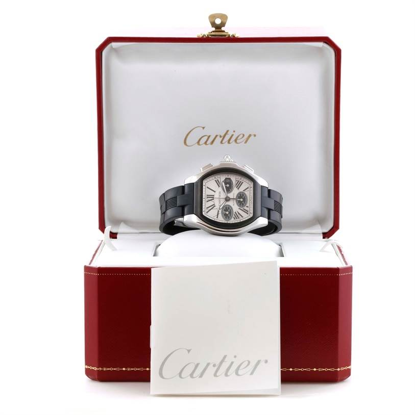 11233 Cartier Roadster Chronograph Silver Dial Rubber Strap Watch W6206020 SwissWatchExpo