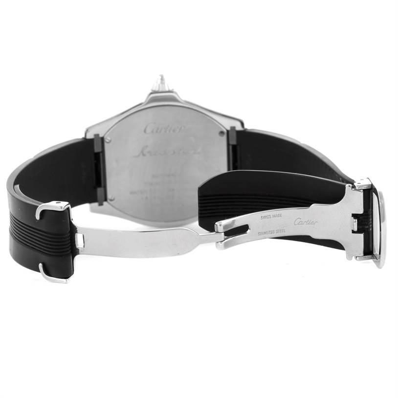 11492 Cartier Roadster S Steel Rubber Strap Mens Watch W6206018 SwissWatchExpo