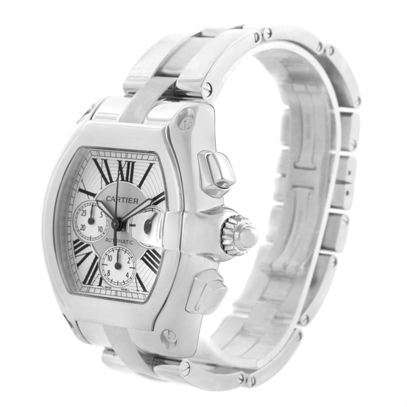 11549 Cartier Roadster Chronograph Silver Dial Mens Automatic Watch W62019X6 SwissWatchExpo