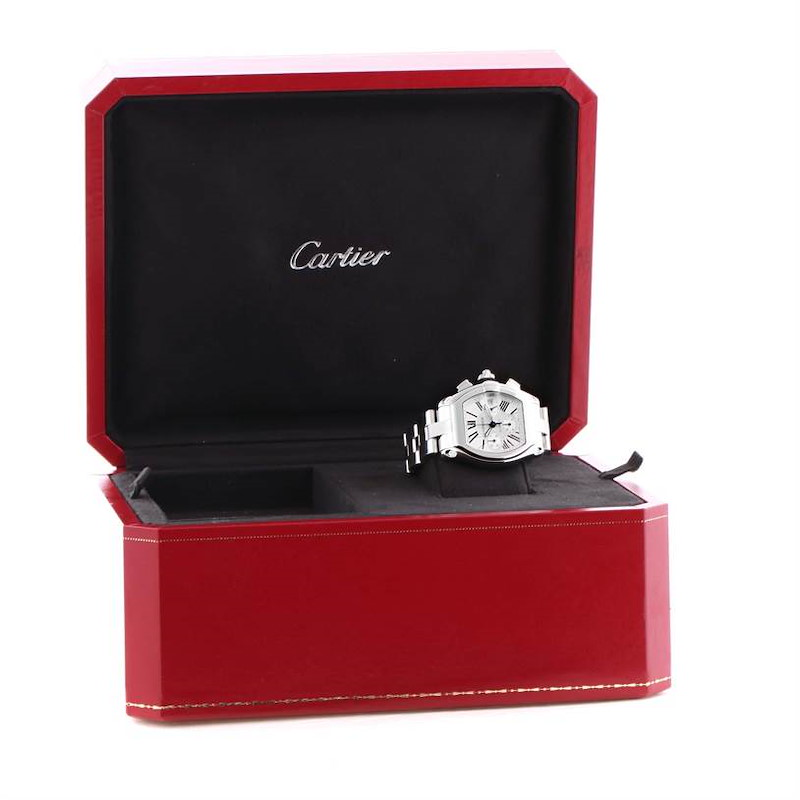 Cartier Roadster Chronograph Silver Dial Mens Automatic Watch W62019X6 SwissWatchExpo