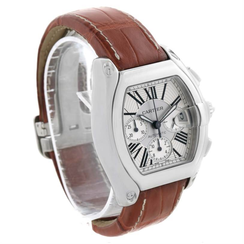 11632 Cartier Roadster Chronograph Silver Dial Brown Strap Watch W62019X6 SwissWatchExpo