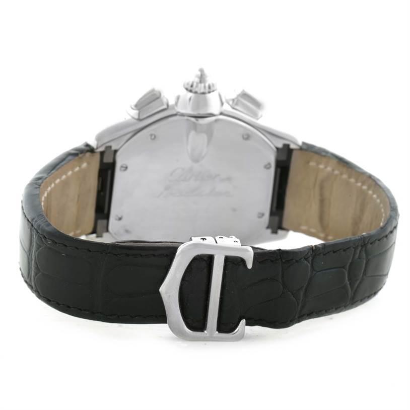 11630 Cartier Roadster Chronograph Black Strap Steel Mens Watch W62020X6 SwissWatchExpo