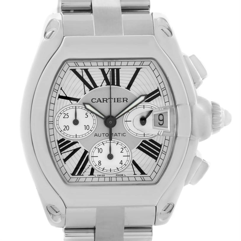 11089 Cartier Roadster Chronograph Silver Dial Watch W62019X6 Box Papers SwissWatchExpo