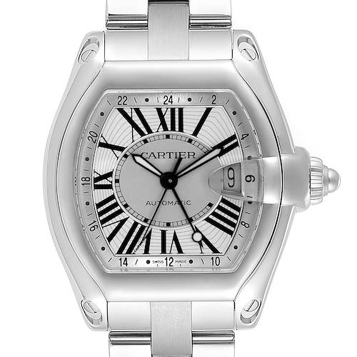 Photo of Cartier Roadster GMT Silver Dial Stainless Steel Mens Watch W62032X6