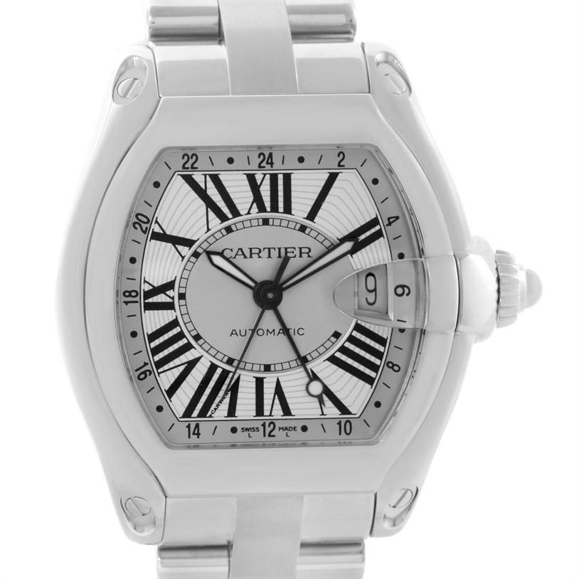11661 Cartier Roadster GMT Silver Dial Stainless Steel Mens Watch W62032X6 SwissWatchExpo