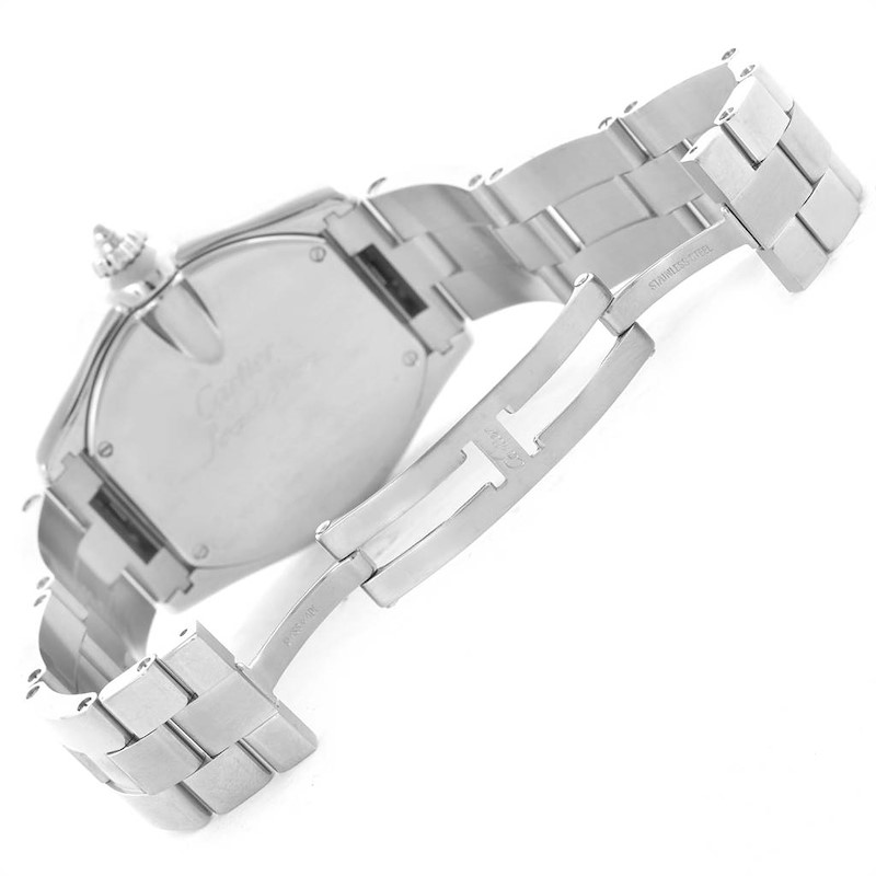 Cartier Roadster GMT Silver Dial Stainless Steel Mens Watch W62032X6 SwissWatchExpo