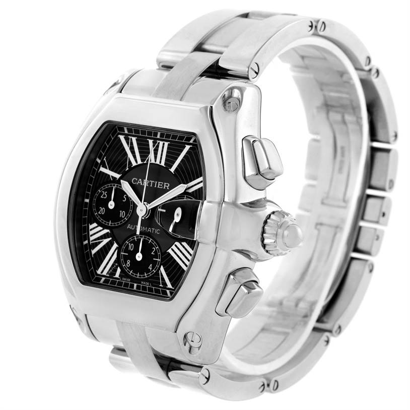 11832 Cartier Roadster Chronograph Black Dial Steel Automatic Watch W62020X6 SwissWatchExpo