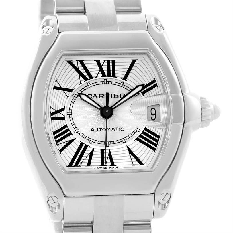 11898 Cartier Roadster Mens Steel Large Silver Dial Watch W62025V3 SwissWatchExpo
