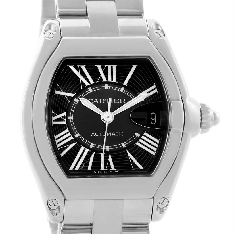 11888 Cartier Roadster Black Dial Large Automatic Steel Watch W62041V3 SwissWatchExpo