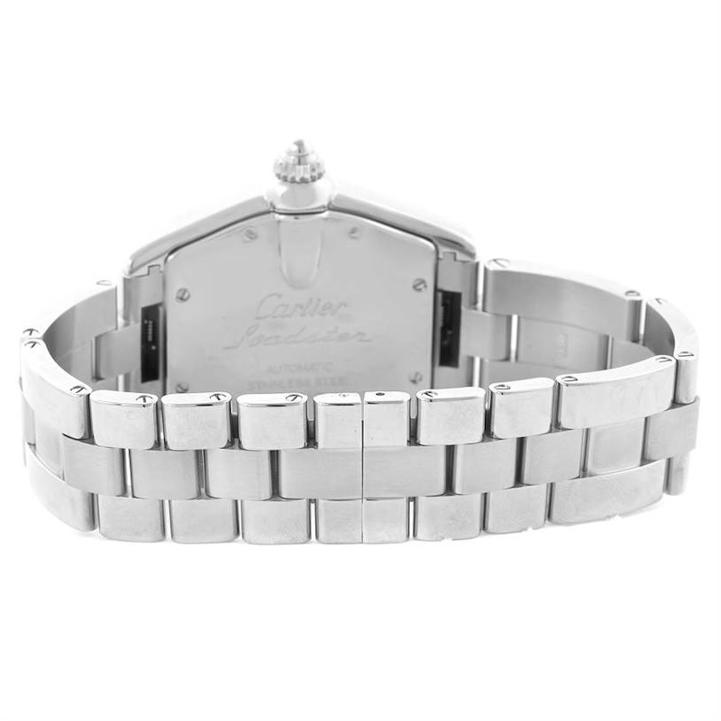 Cartier Roadster Mens Stainless Steel Silver Dial Watch W62025V3 SwissWatchExpo