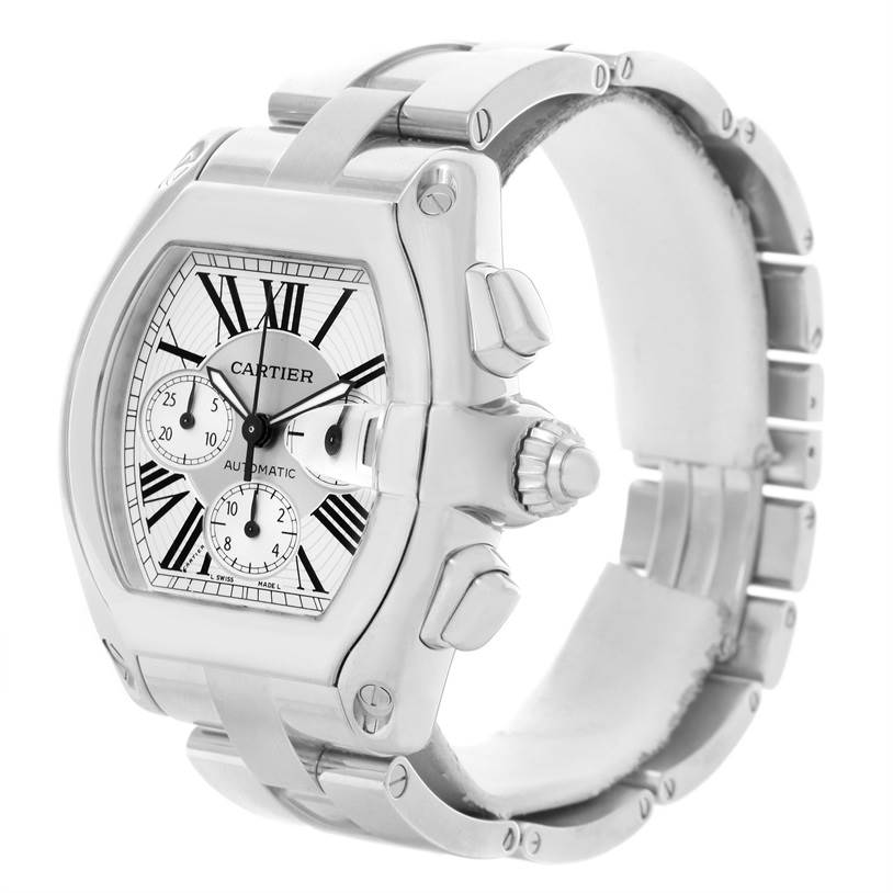 Cartier Roadster Chronograph Silver Dial Mens Watch W62019X6 Box SwissWatchExpo