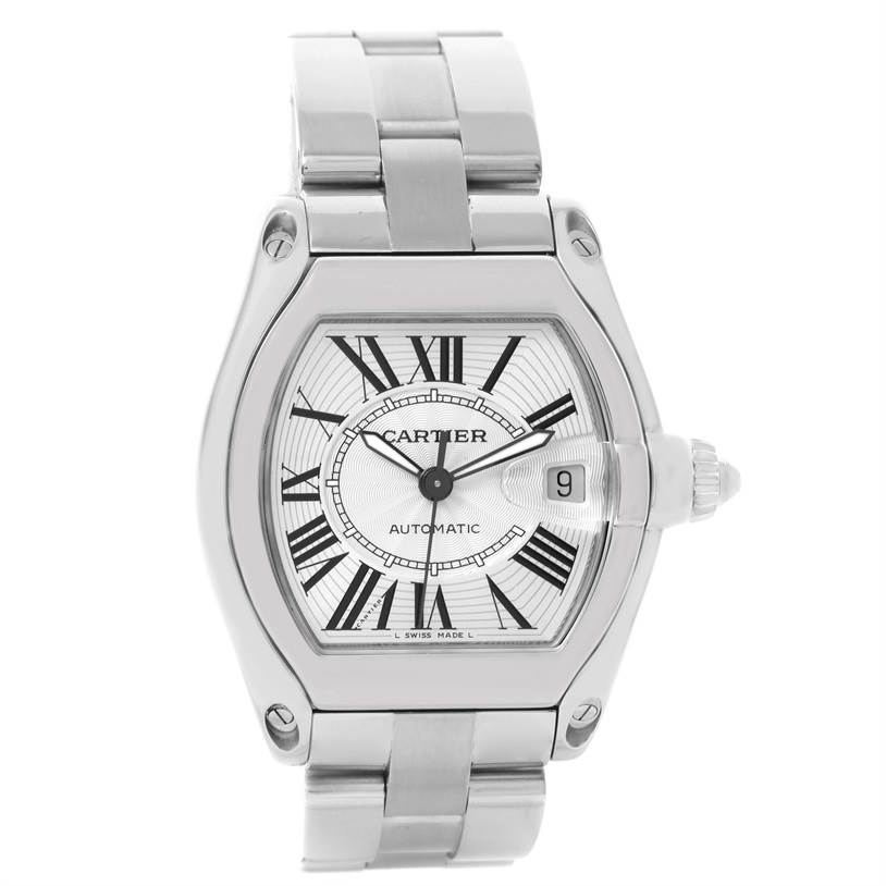 12073 Cartier Roadster Mens Silver Dial Watch W62025V3 Box Papers Strap SwissWatchExpo