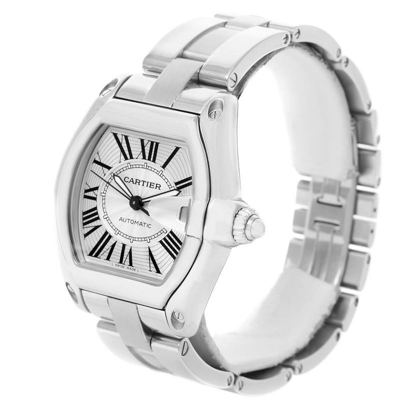 Cartier Roadster Mens Silver Dial Watch W62025V3 Box Papers Strap SwissWatchExpo