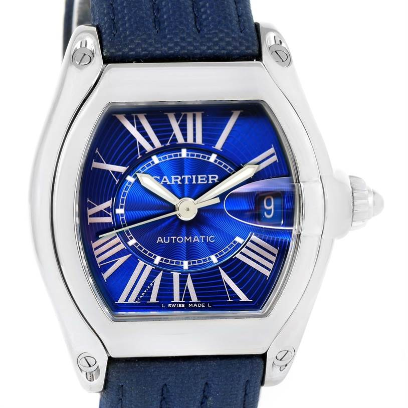 12236 Cartier Roadster Mens Steel Large Blue Dial Watch W62048V3 SwissWatchExpo