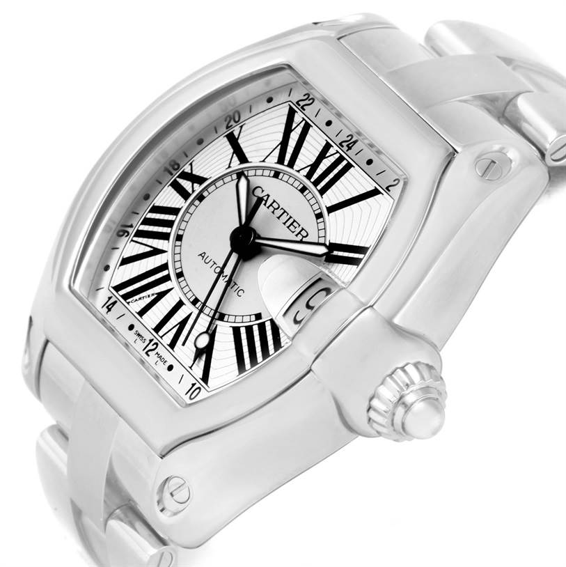12077 Cartier Roadster GMT Silver Dial Stainless Steel Mens Watch W62032X6 SwissWatchExpo