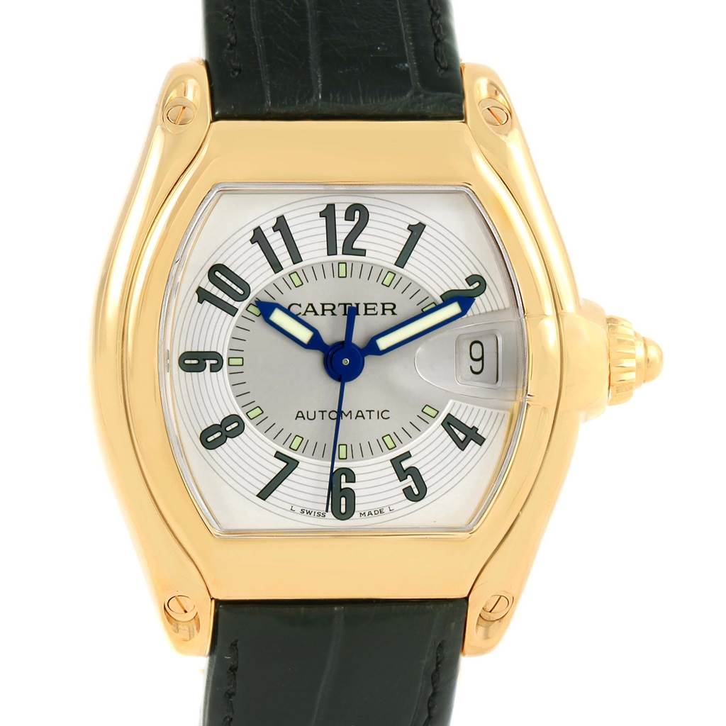 12206 Cartier Roadster 18K Yellow Gold Silver Dial Large Watch W62005V2 SwissWatchExpo