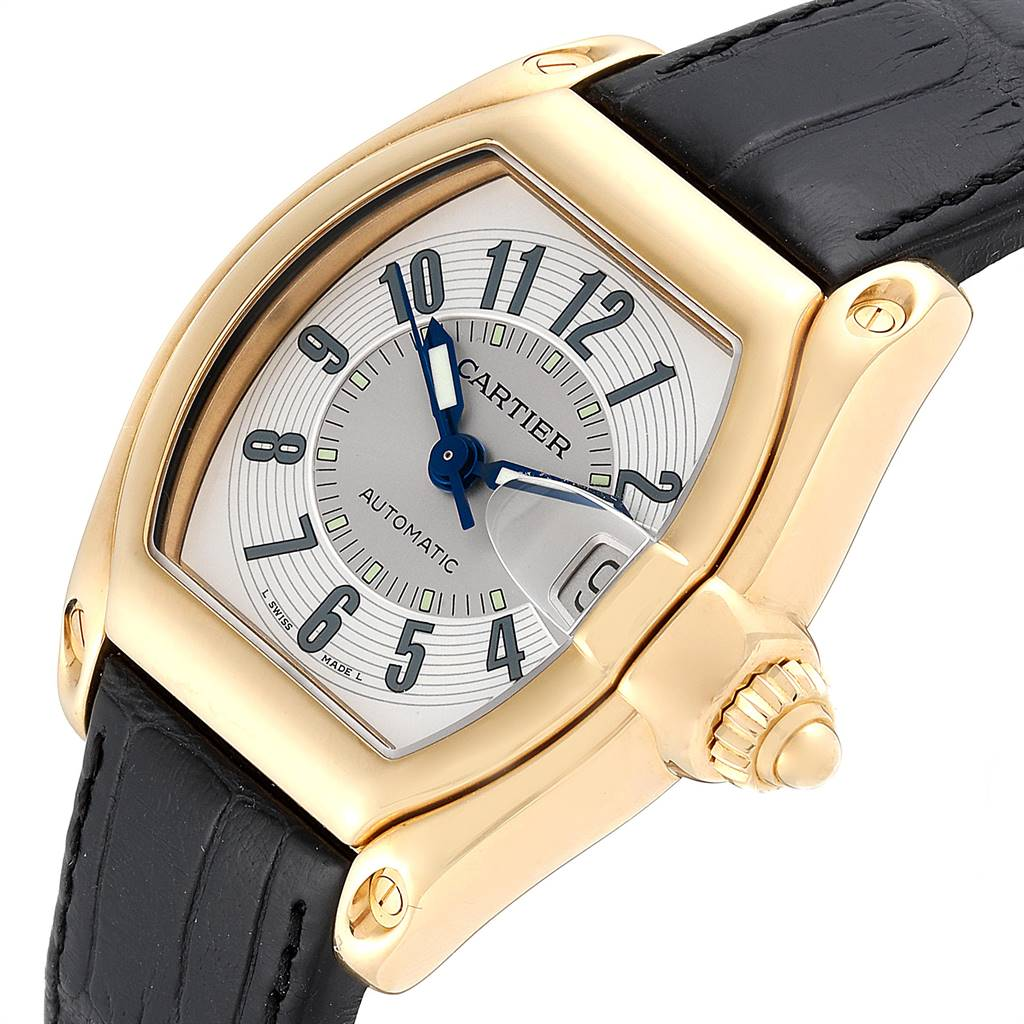 Cartier Roadster 18K Yellow Gold Silver Dial Mens Watch W62005V2 SwissWatchExpo