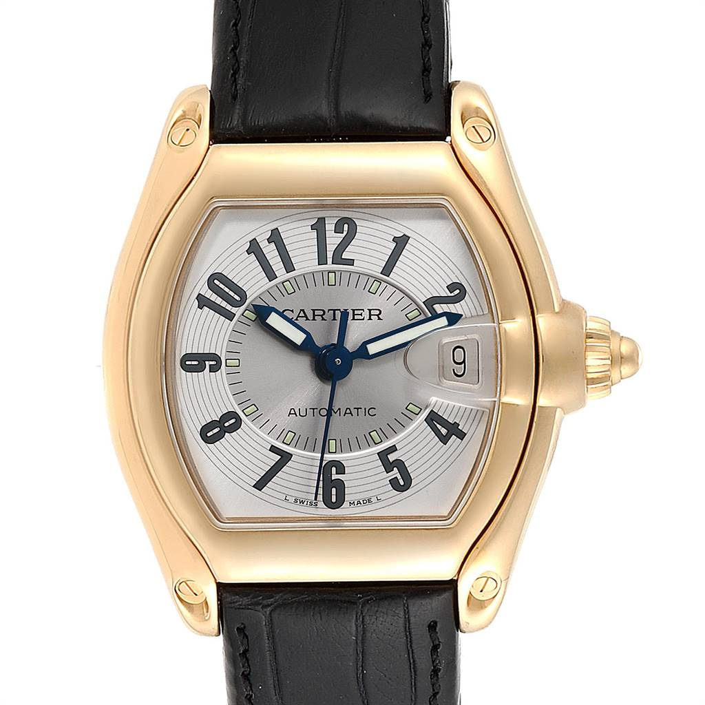 Cartier Roadster 18K Yellow Gold Silver Dial Mens Watch W62005V2