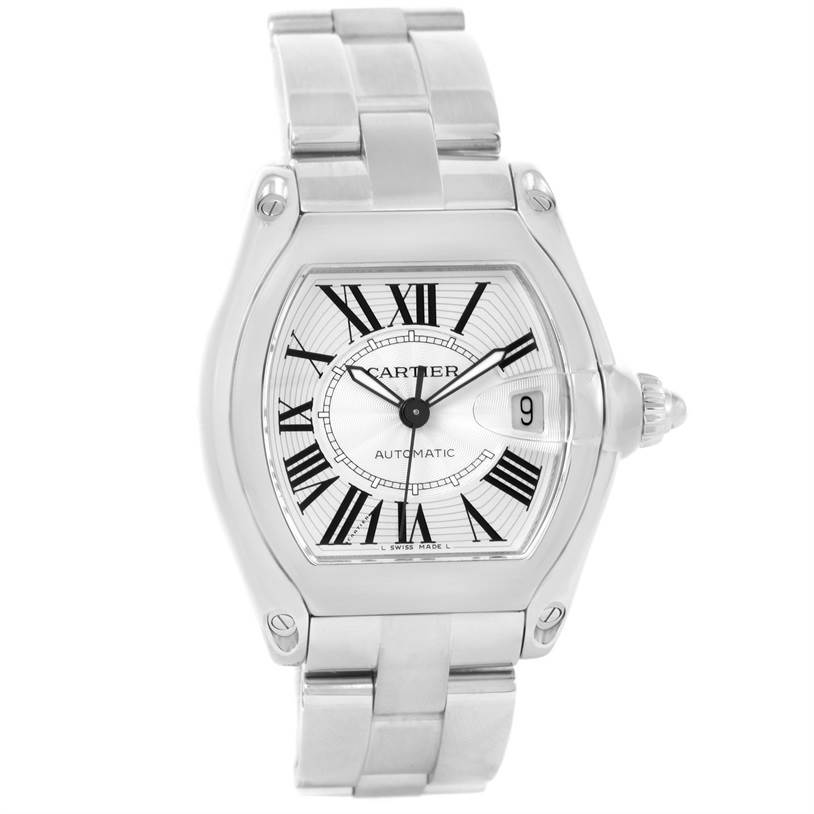 12253 Cartier Roadster Mens Automatic Steel Silver Dial Watch W62025V3 SwissWatchExpo