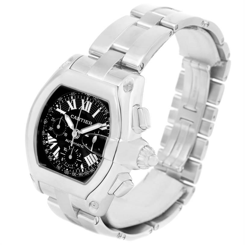 Cartier Roadster Chronograph Black Dial Mens Steel Watch W62007X6 SwissWatchExpo