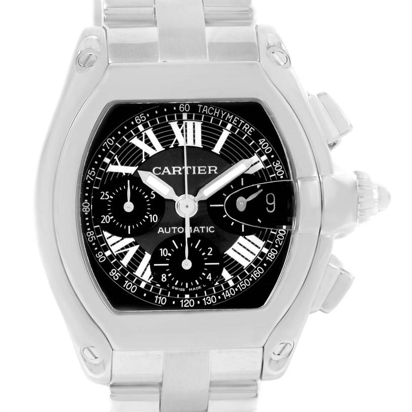 12278 Cartier Roadster Chronograph Black Dial Mens Steel Watch W62007X6 SwissWatchExpo
