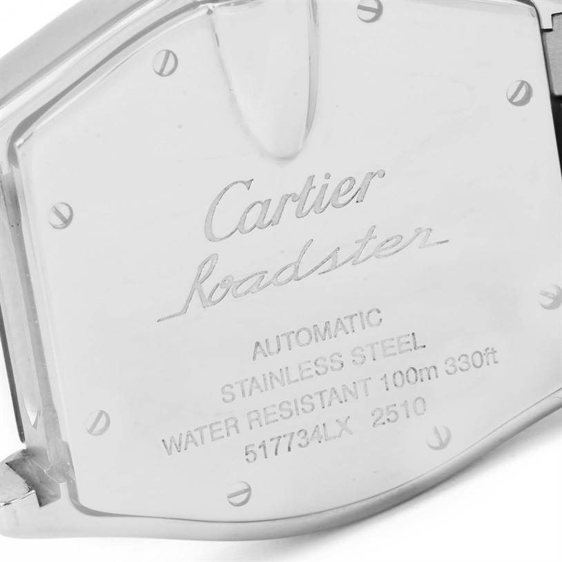 12797 Cartier Roadster Mens Silver Dial Steel Watch W62025V3 Box Papers SwissWatchExpo