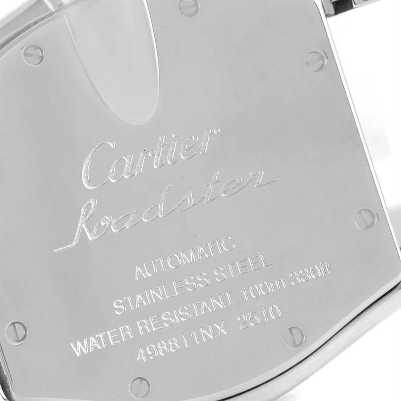 12266 Cartier Roadster Mens Steel Large Silver Dial Watch W62025V3 SwissWatchExpo