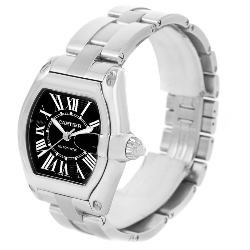 12609 Cartier Roadster Black Dial Large Steel Watch W62041V3 Box Papers SwissWatchExpo