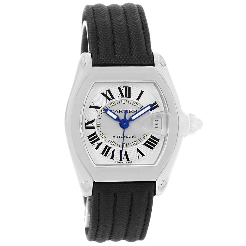 Cartier Roadster Mens Steel Black Strap Large Watch W62000V3 SwissWatchExpo