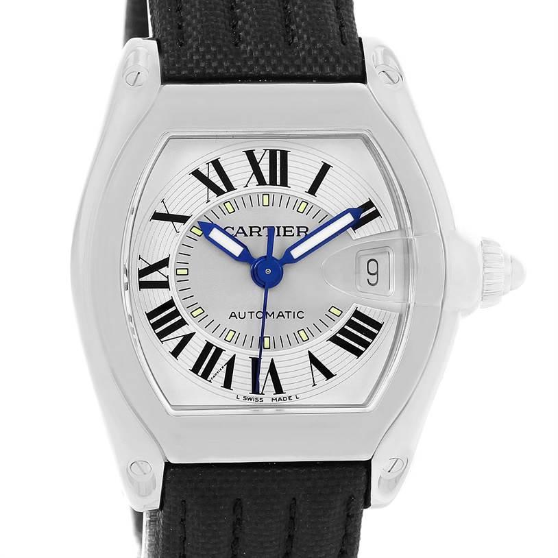 7995A Cartier Roadster Mens Steel Black Strap Large Watch W62000V3 SwissWatchExpo