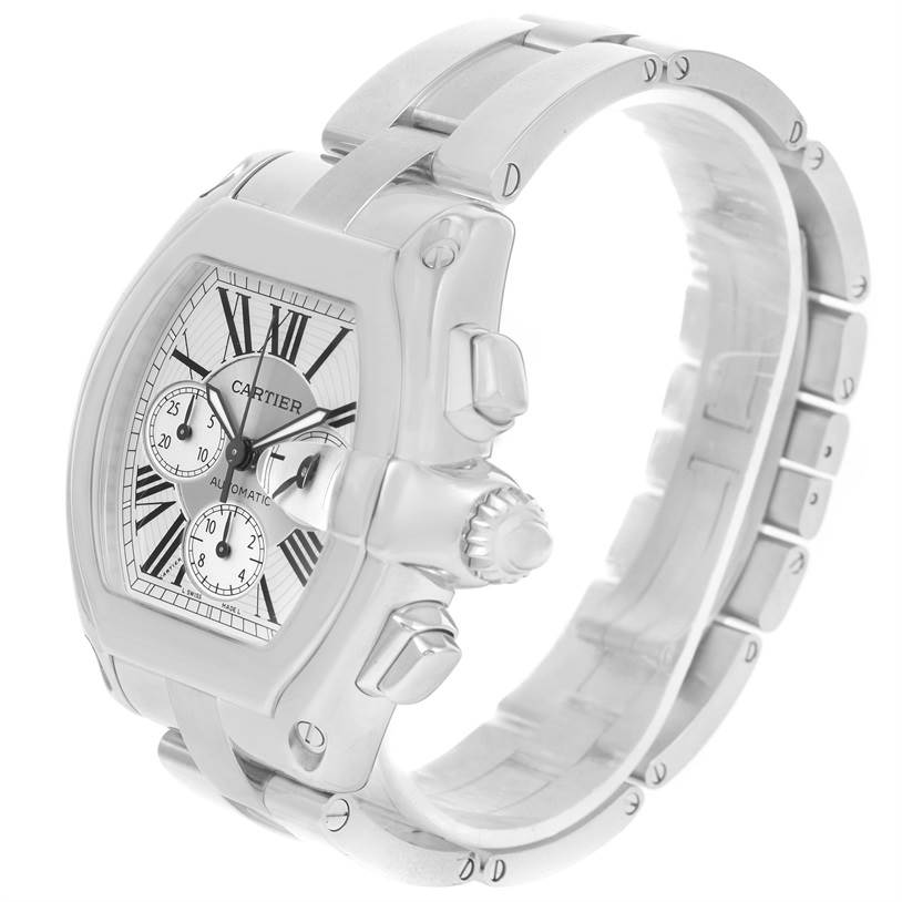 12584 Cartier Roadster Chronograph Silver Dial Automatic Mens Watch W62019X6 SwissWatchExpo