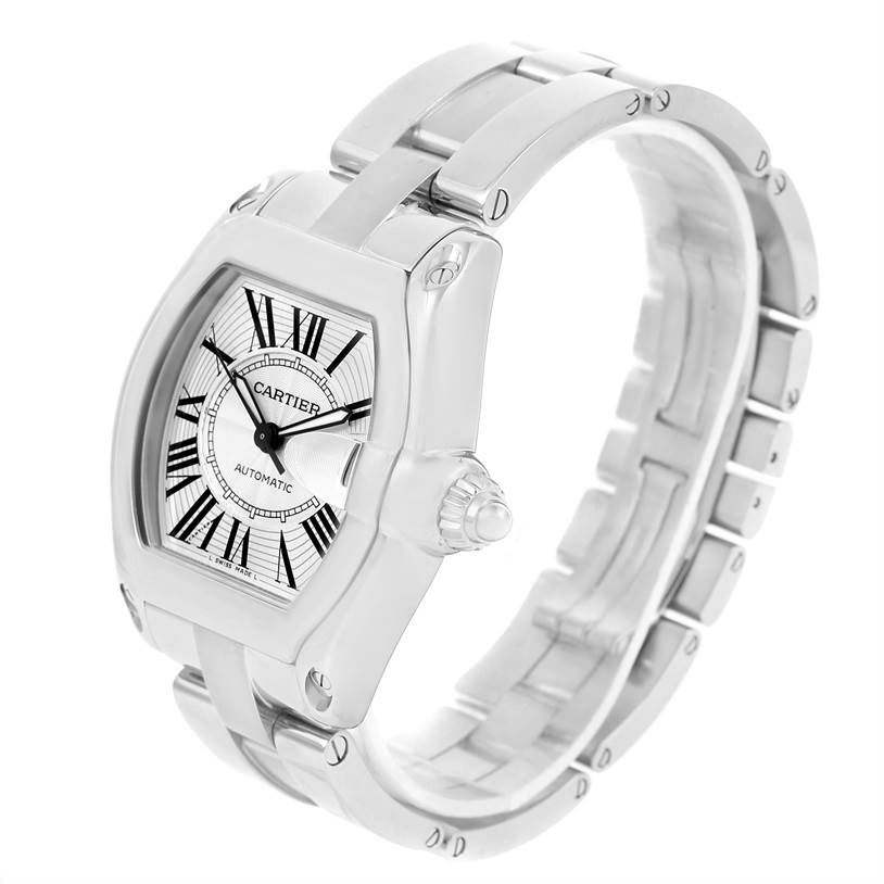 13156 Cartier Roadster Mens Automatic Steel Silver Dial Watch W62025V3 SwissWatchExpo