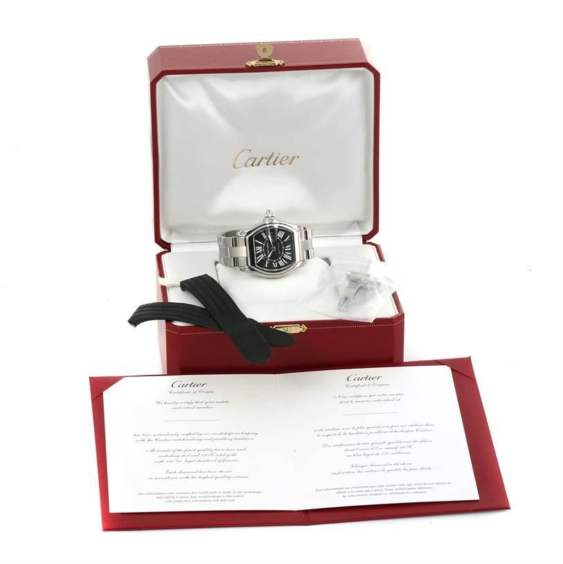 13287 Cartier Roadster Black Roman Dial Mens Watch W62041V3 Box Strap SwissWatchExpo