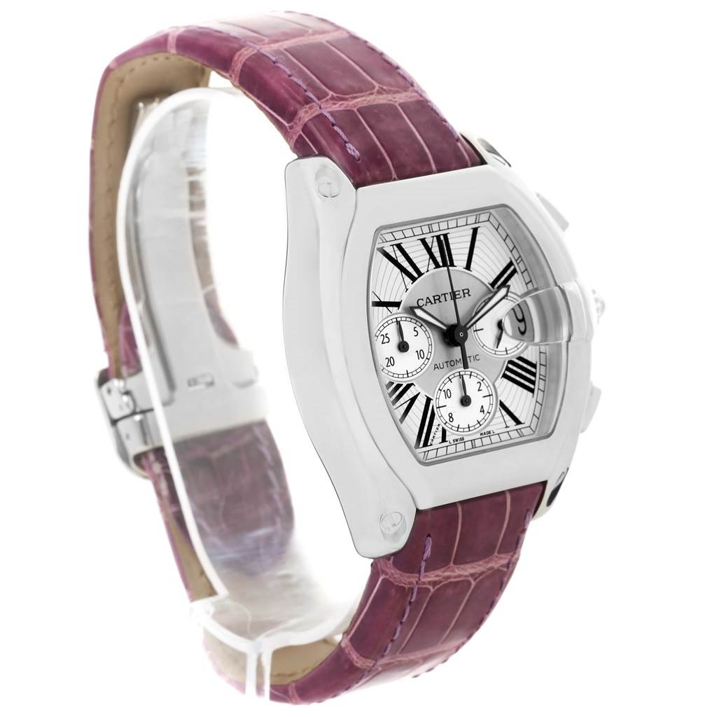 13374 Cartier Roadster Chronograph Silver Dial Violet Strap Watch W62019X6 SwissWatchExpo