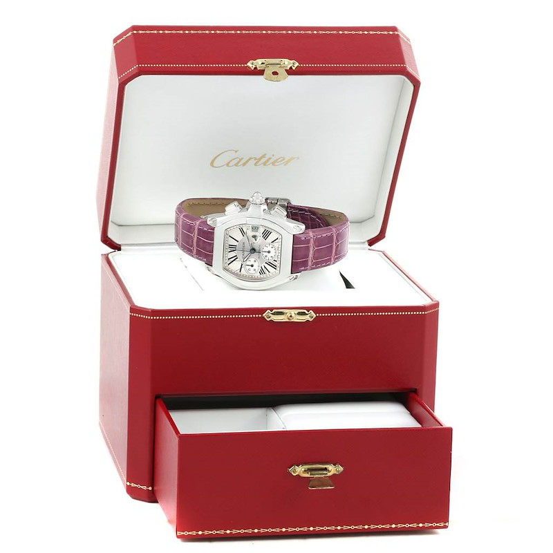 Cartier Roadster Chronograph Silver Dial Violet Strap Watch W62019X6 SwissWatchExpo